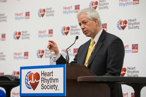 Dr. Robert Giugliano speaks during the Late-Breaking Clinical Trials Session II Press Briefing at the Heart Rhythm Society 2014 Annual Meeting in San Francisco.