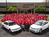 Camry heritage: The first vehicle and the 10 millionth pose with a group of team members who built both in a span of 26 years.  In all, over 200 original team members remain at the plant.
