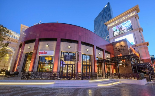 Monte Carlo's plaza is the first completed element of an entertainment district in development by MGM Resorts International to be completed in 2016.