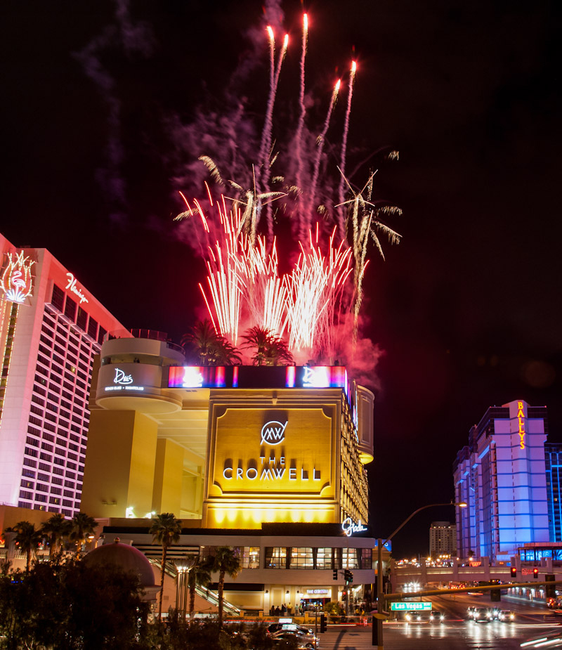 Fireworks light up the sky over Drai's Beach Club - Nightclub at The Cromwell Las Vegas. The new rooftop venue by Victor Drai celebrated its opening on the famed Strip this Memorial Day Weekend.