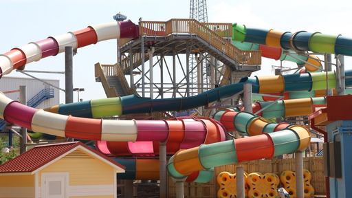 Three unique water slides sit atop a 41 foot tower at Bonzai Pipelines that will propel guests barreling down through 180- and 360-degree curves.