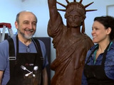 Behind the scenes as Lady Liberty comes to life from 800 pounds of Hershey's Milk Chocolate