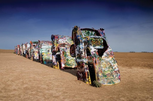 Cadillac Ranch, Route 66 west of Amarillo, Texas. Courtesy Library of Congress