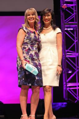 Avon representative Kym Calder and Andrea Jung