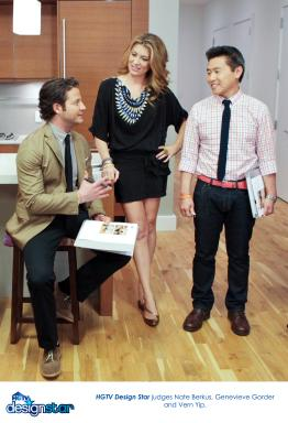 HGTV Design Star guest judge Nate Berkus with series judges Genevieve Gorder and Vern Yip