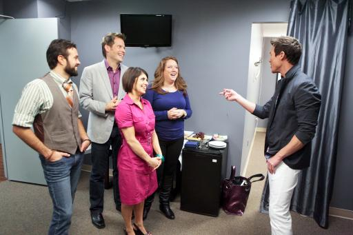 HGTV Design Star finalists with mentor David Bromstad backstage at The Nate Berkus Show
