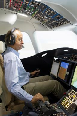 """Philippe Deleume, Dassault Chief test pilot at the controls of the Falcon 5X"""