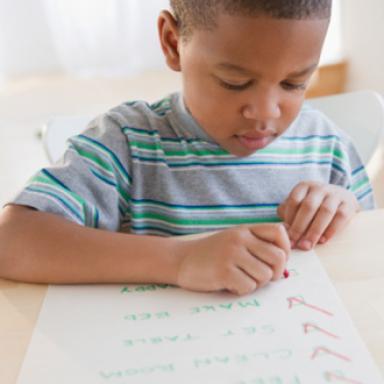 Student learns writing skills