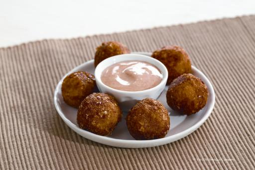 Appetizers Category Winner: Bacon and Potato Fritters with Spiced Honey Cr&egrave;me Fra&icirc;che Sauce