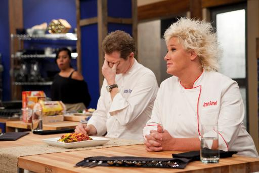 Bobby Flay and Anne Burrell judge