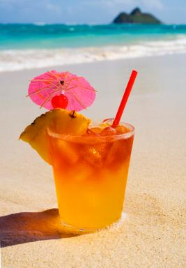 Tropical beverage on a beach in Hawaii