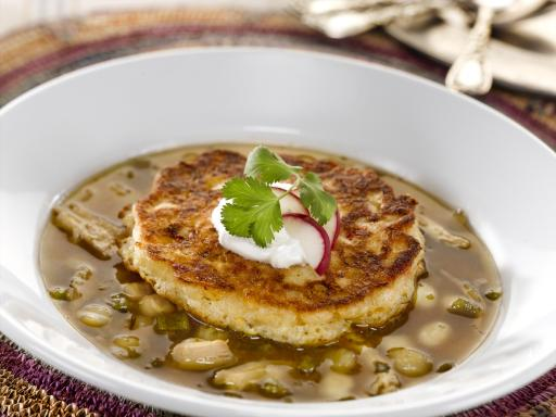Roasted Poblano Chicken Posole with Floating Corn Cake Islands