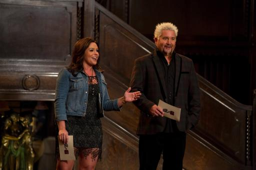 Rachael Ray and Guy Fieri on Food Network's Rachael vs. Guy Celebrity Cook-Off