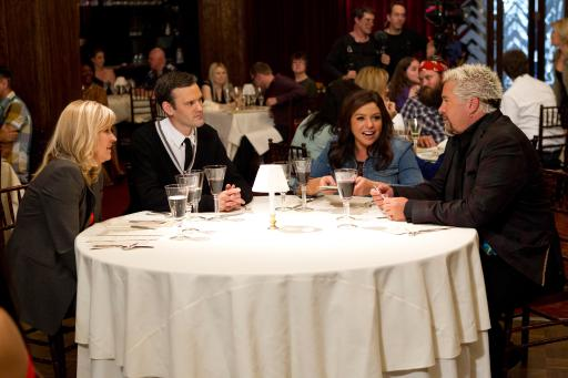 Guy Fieri and Rachael Ray join judges on Food Network's Rachael vs. Guy Celebrity Cook-Off