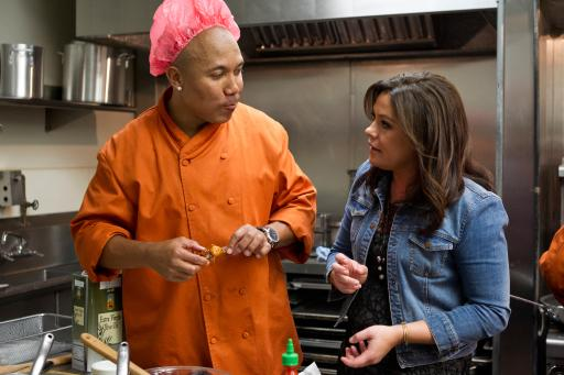 Hines Ward and Rachael Ray on Food Network's Rachael vs. Guy Celebrity Cook-Off