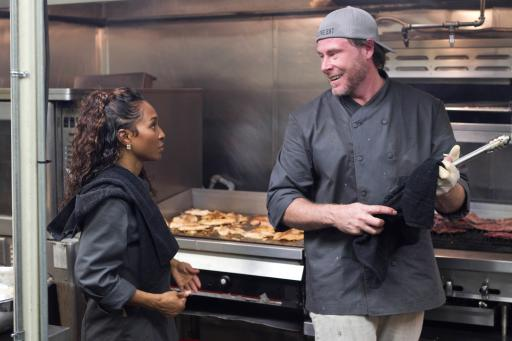 Chilli and Dean McDermott cook on Food Network's Rachael vs. Guy Celebrity Cook-Off