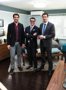 Property Brothers Jonathan and Drew Scott with Kennon Earl