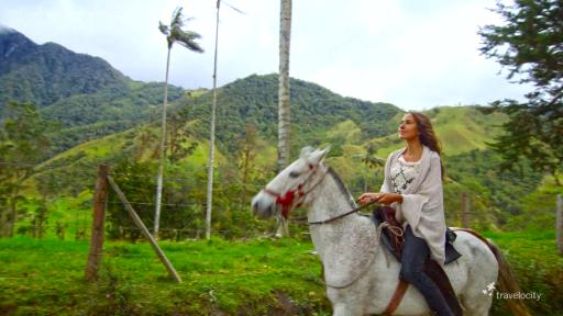 Courtney horseback riding through Colombia's Cocora Valley
