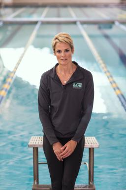 Olympic Swimmer and Get in the Game Spokesperson Dara Torres Vertical Solo Pool Shot