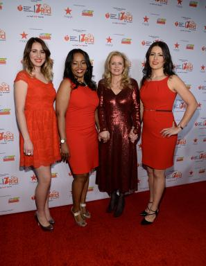 Martine Reardon and Heart Disease Survivors in Red