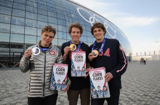 Joss Christensen, Gus Kenworthy and Nick Goepper with special-edition Kellogg's Corn Flakes box