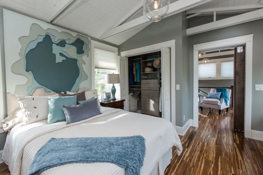 The master bedroom in DIY Network's 2014 Blog Cabin.