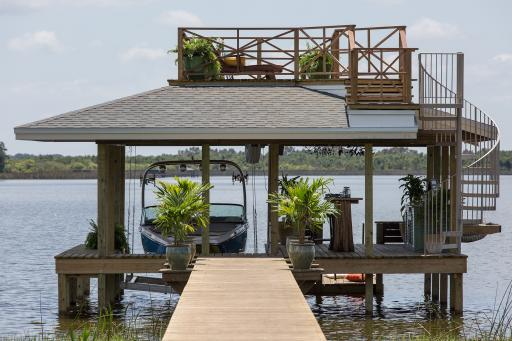 View of the boat dock at DIY Network's 2014 Blog Cabin.