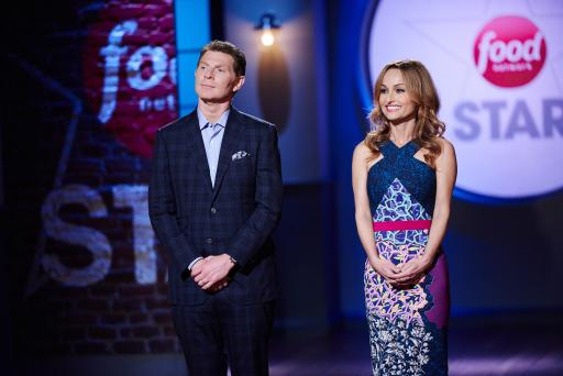 Bobby Flay and Giada De Laurentiis greet the finalists on Food Network Star