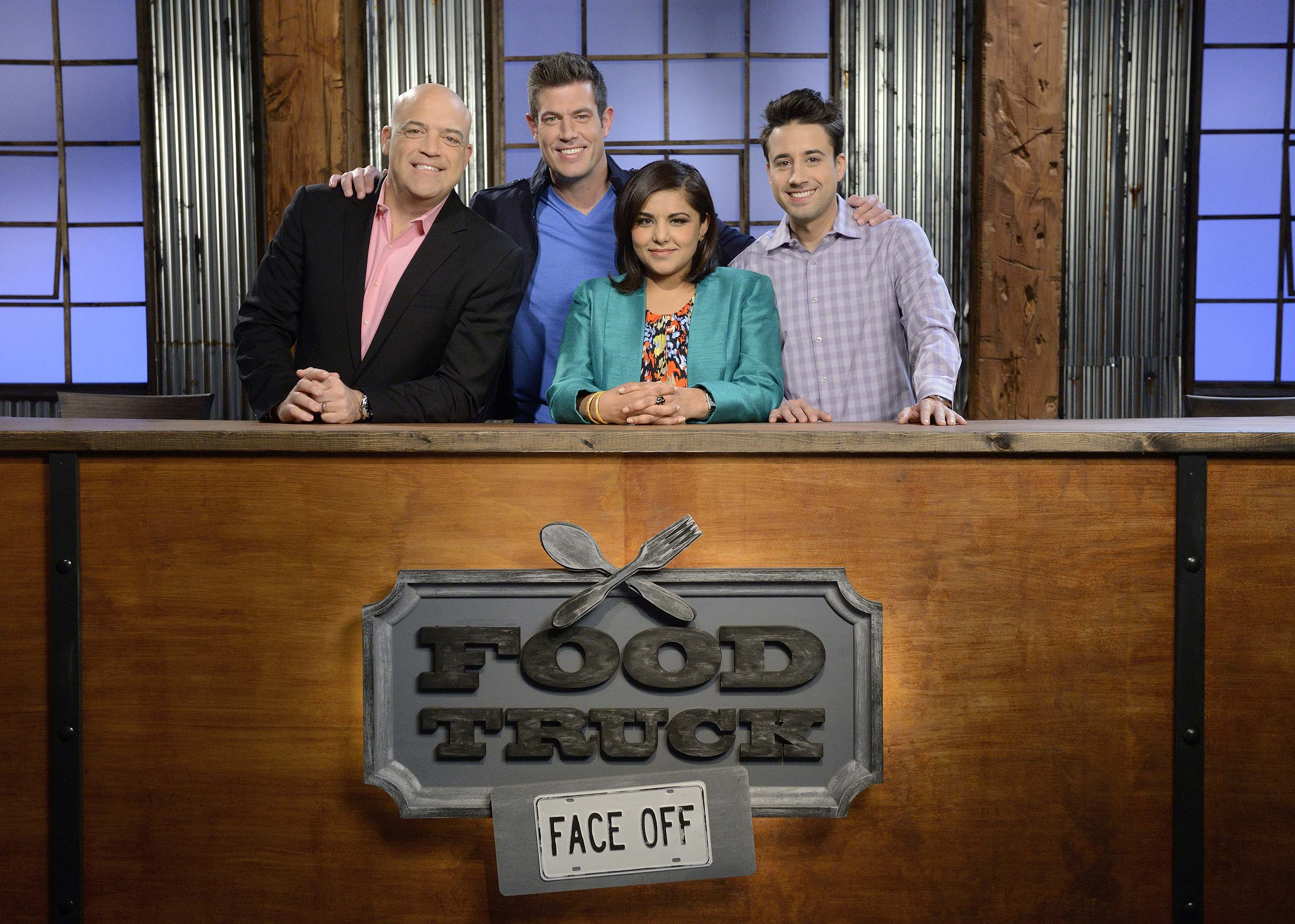 Judges Steak Shapiro, Alpana Singh and Andrew Gruel with host Jesse Palmer on Food Network's Food Truck Face Off