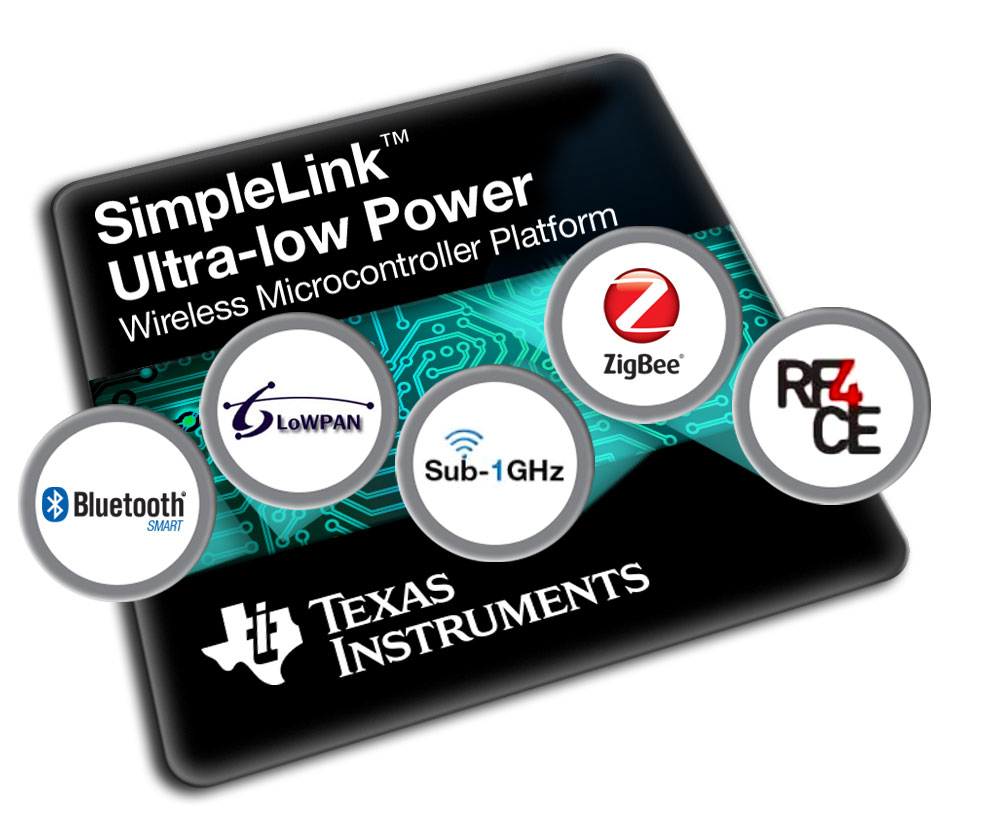 The SimpleLink ultra-low power platform supports Bluetooth Smart, ZigBee, 6LoWPAN, Sub-1 GHz, ZigBee RF4CE and proprietary modes up to 5Mbps.