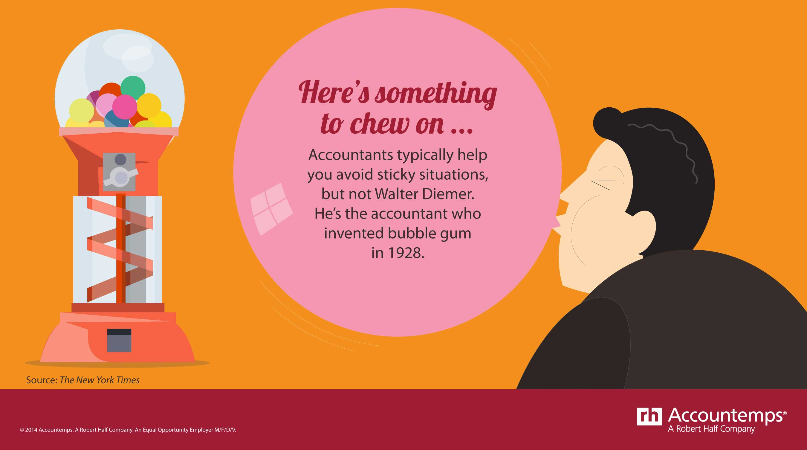 Accountants typically help you avoid sticky situations, but not Walter Diemer. He's the accountant who invented bubble gum in 1928.