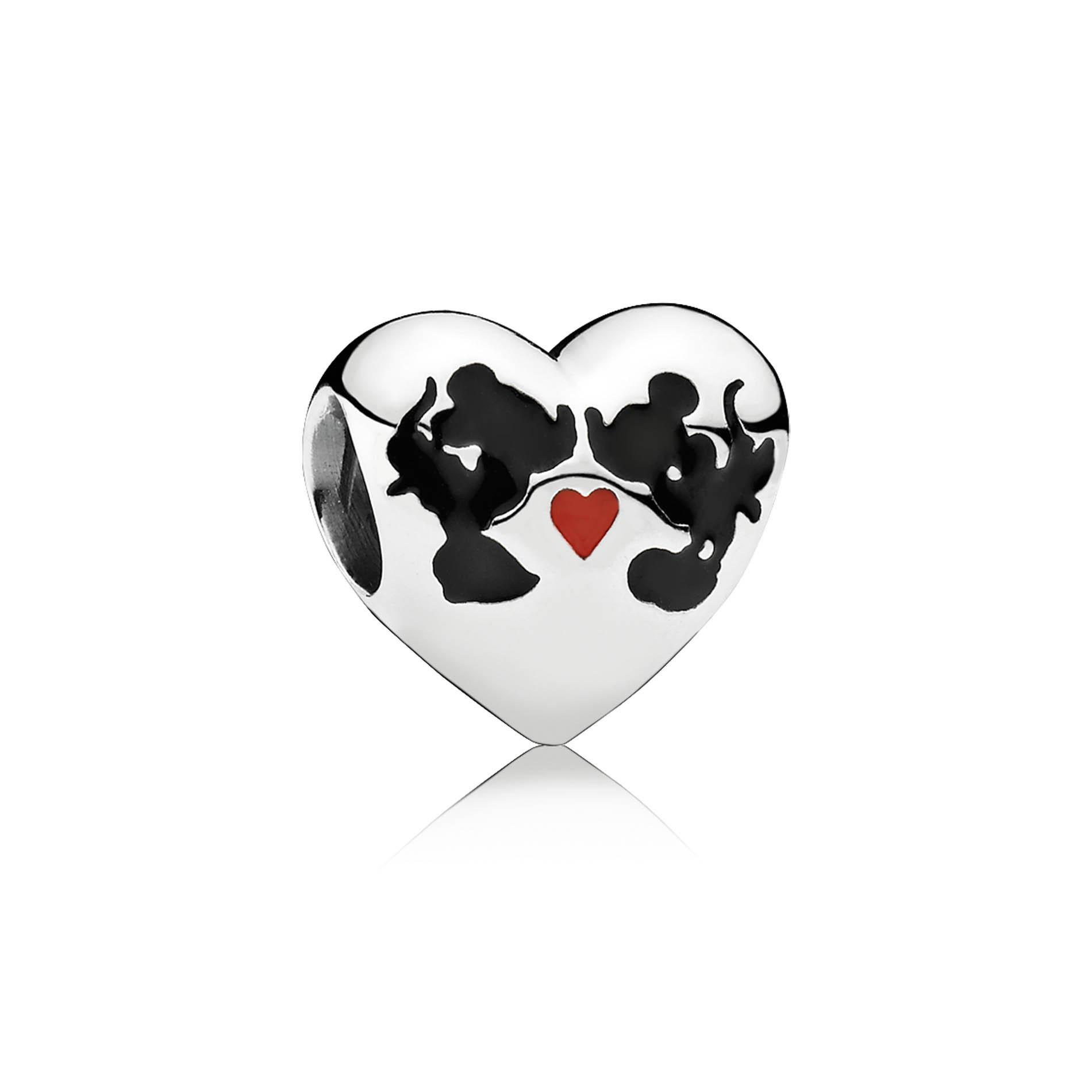 PANDORA's Minnie & Mickey Kiss charm. Disney's favorite mouse couple is celebrated on a sterling silver Minnie & Mickey Kiss heart-shaped charm featuring red and black enamel designs.