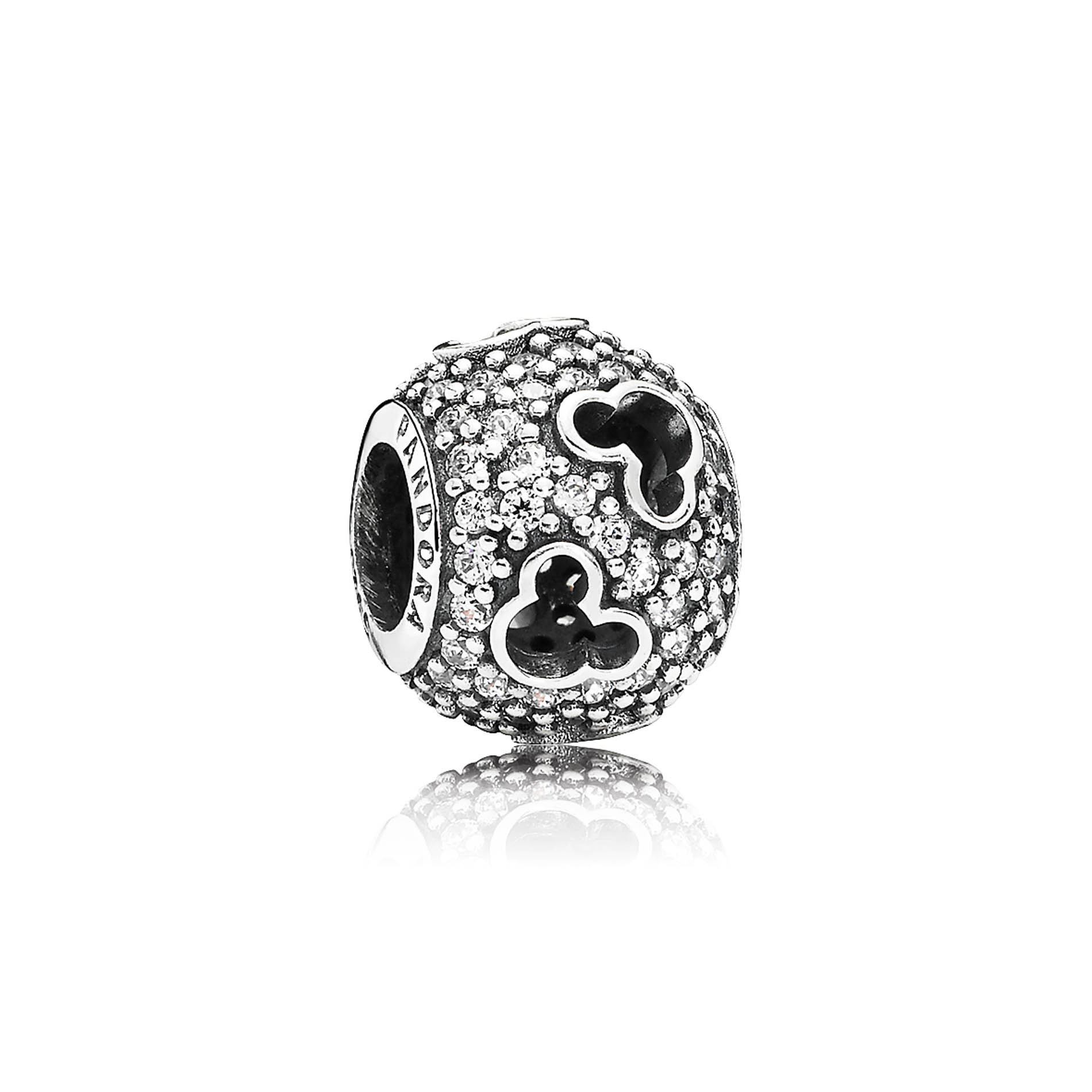 PANDORA's Mickey Silhouettes charm. PANDORA introduces a sterling silver clear pave charm with intricate cutouts inspired by Mickey's instantly recognizable silhouette