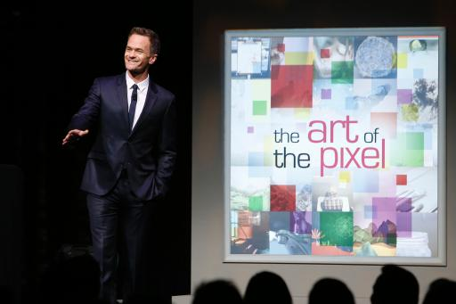 Neil Patrick Harris entertains the crowd at the LG Art of the Pixel gala.