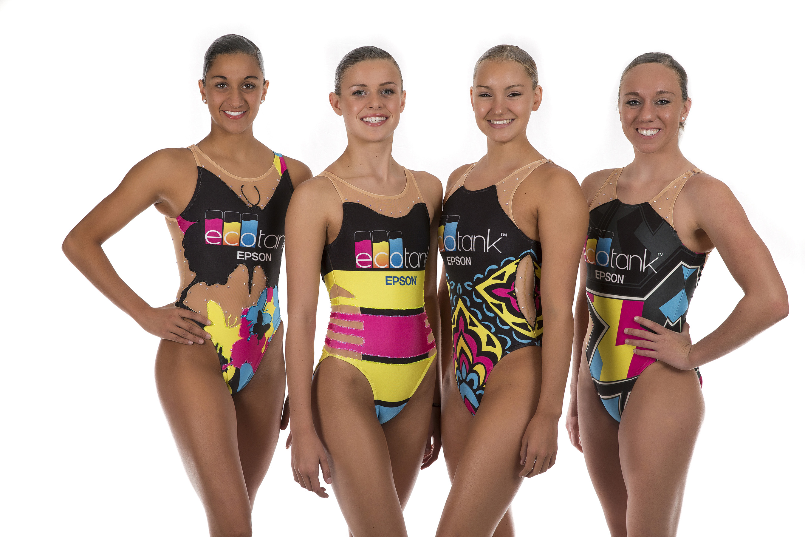 "During their performances, the U.S. National Synchronized Swimming Team will wear original swimsuits designed for ""Swimming In Ink"" by Triflare, the official competition apparel sponsor of USA Synchro. The Triflare original designs were printed using Epson® SureColor® F-Series dye sublimation printing technology."