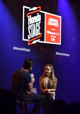 Ariana Grande is interviewed during her Honda Stage performance at the iHeart Radio Theatre