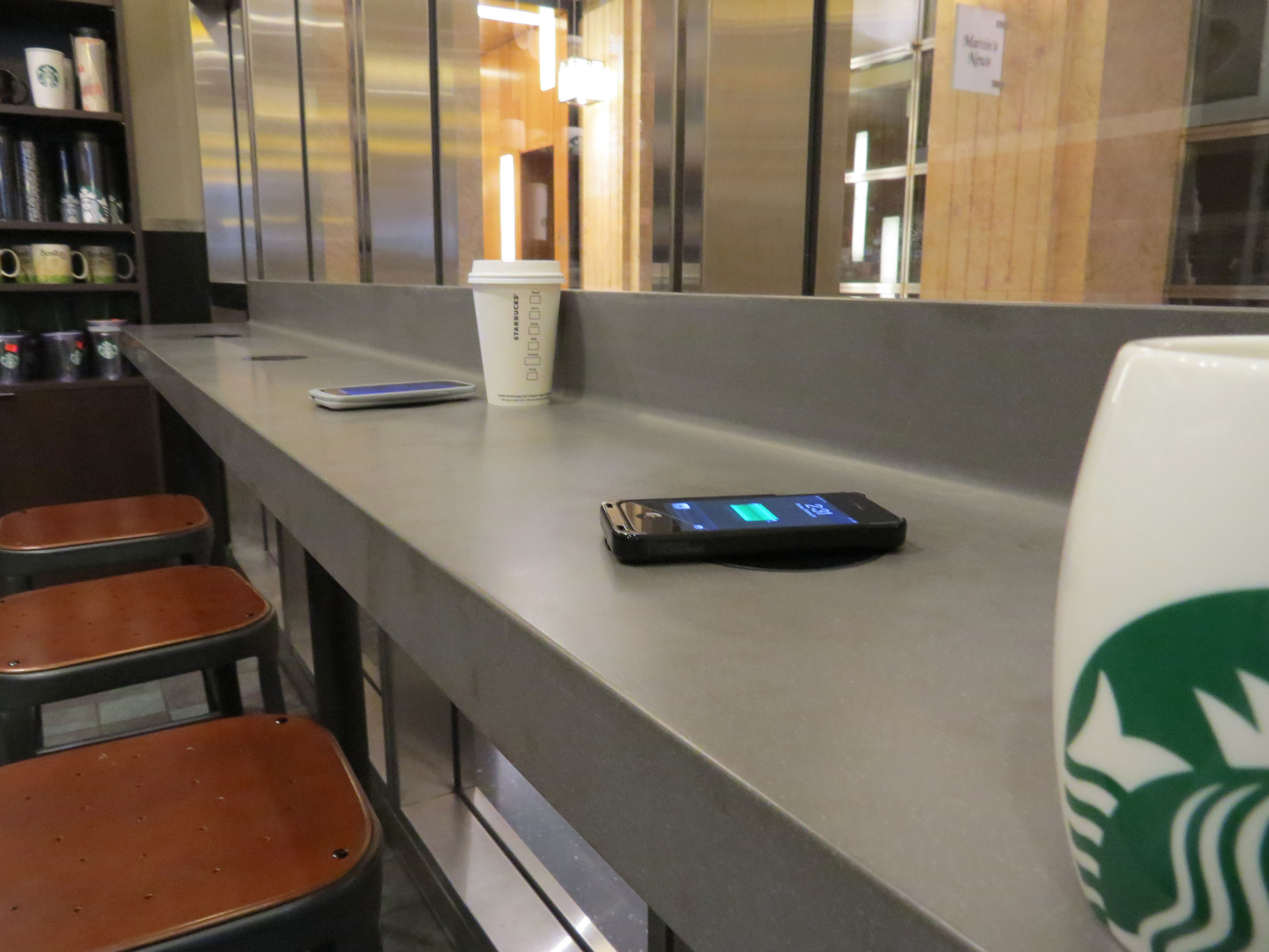 Powermat spots on Starbucks counters