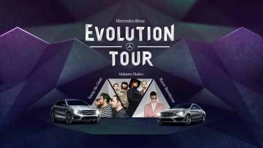 Mercedes-Benz Evolution Tour Logo with Artists and Cars