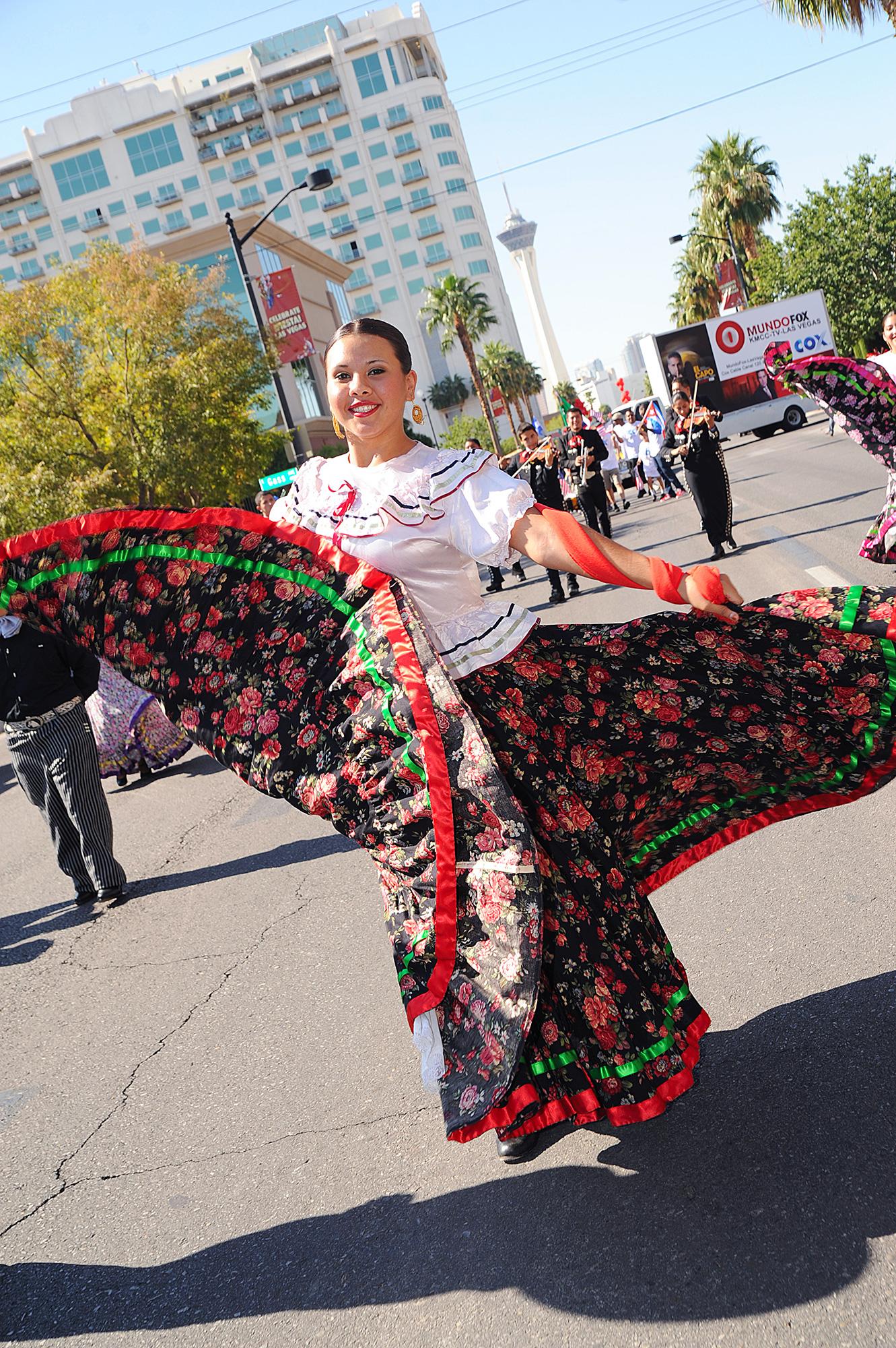 Dancers celebrate El Grito in Las Vegas at Fiesta Las Vegas Latino Parade & Festival