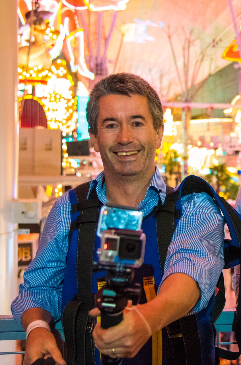 Irish tourist Joe Griffin Thursday, Nov. 19, 2015 shows off his custom dual-sided GoPro camera high above the Fremont Street Experience at the SlotZilla zip line in Las Vegas. Griffin recently gained Internet notoriety when his son published a video that Joe shot of his vacation in Las Vegas, but didn't realize the camera was in selfie mode.  CREDIT: Las Vegas