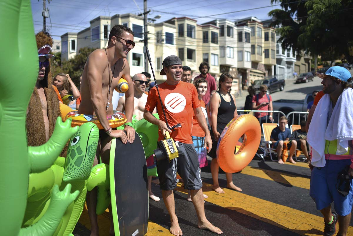 Bear Naked Granola brings big wave surfing to hills of San Francisco to inspire outdoor adventurers to #chasethesun. (Photo by John Feria /AP Images for Bear Naked)