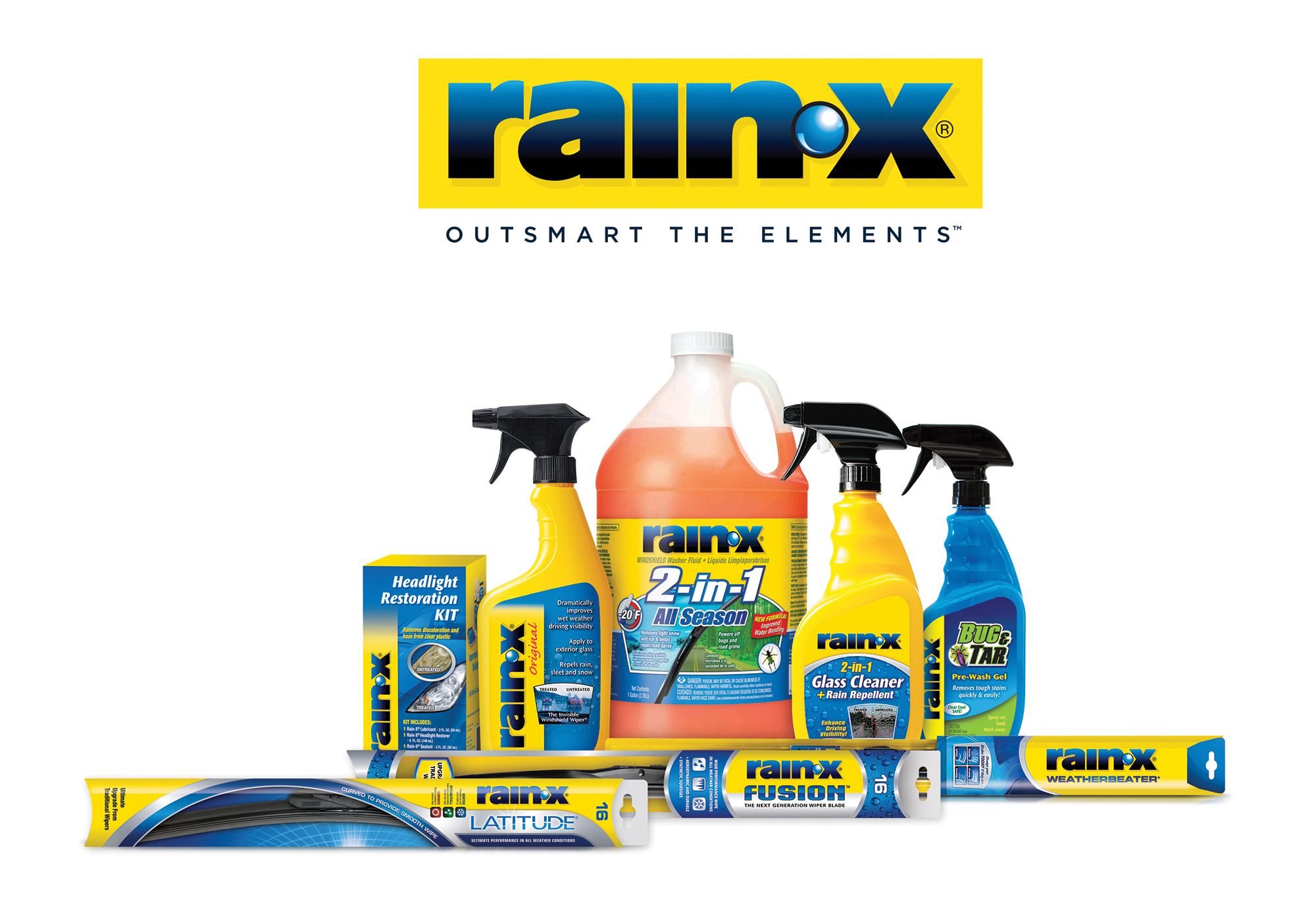 Outsmart the Elements(TM) with Rain-X wiper blades, windshield treatments, washes, waxes and tar and bug repellent products.