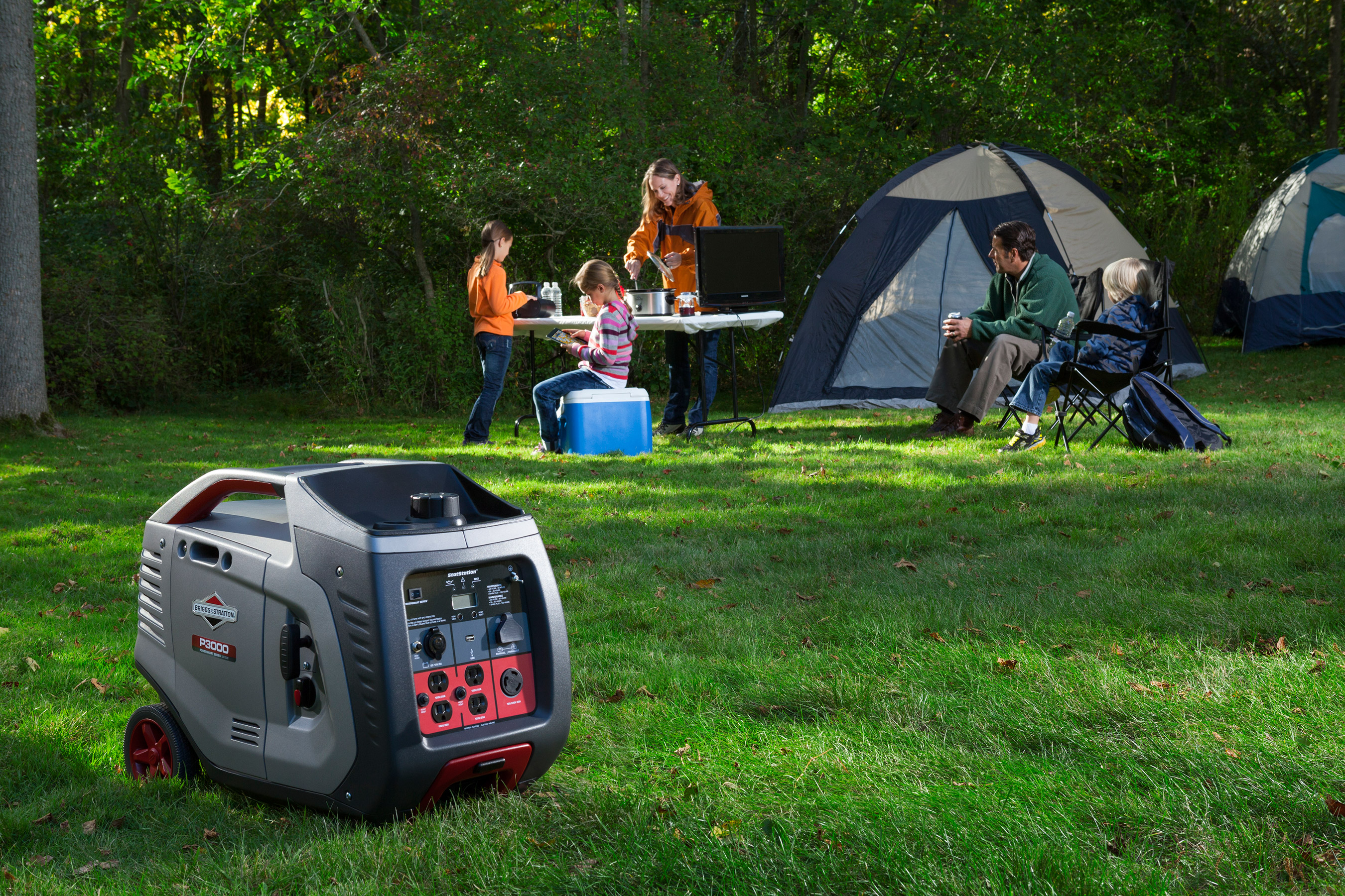 Camping just got easier. With the Briggs & Stratton 3kW Inverter Generator, campers can rely on a portable companion that features quiet and smoother power traditional camping generators can't match, with features such as USB port for portable electronics and, a luggage-style handle for easy carrying.