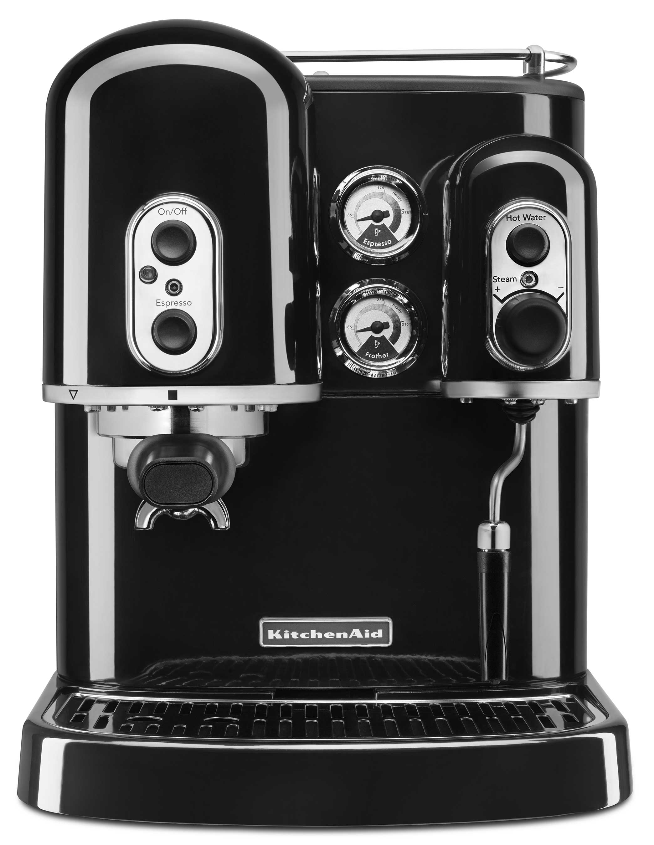 The KitchenAidR Pro LineR Series Espresso Maker Is Available Now In Candy Apple Red Empire Frosted Pearl White And Onyx Black At A Suggested Retail