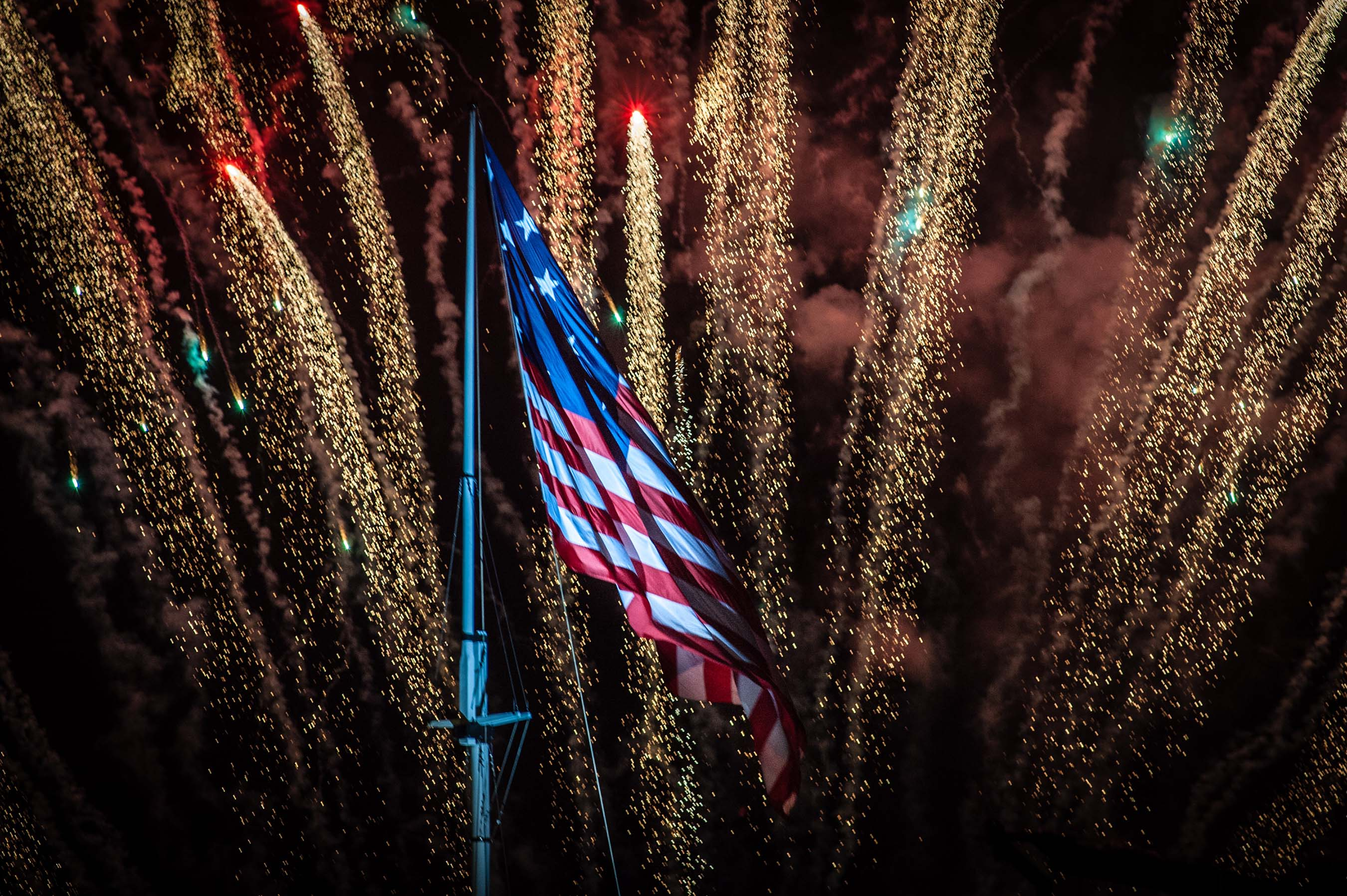 Fireworks illuminate an American flag above Fort McHenry in Baltimore Sept. 13. The pyrotechnics display was among the highlights of Star-Spangled Spectacular, a celebration of the 200th anniversary of Francis Scott Key's National Anthem.