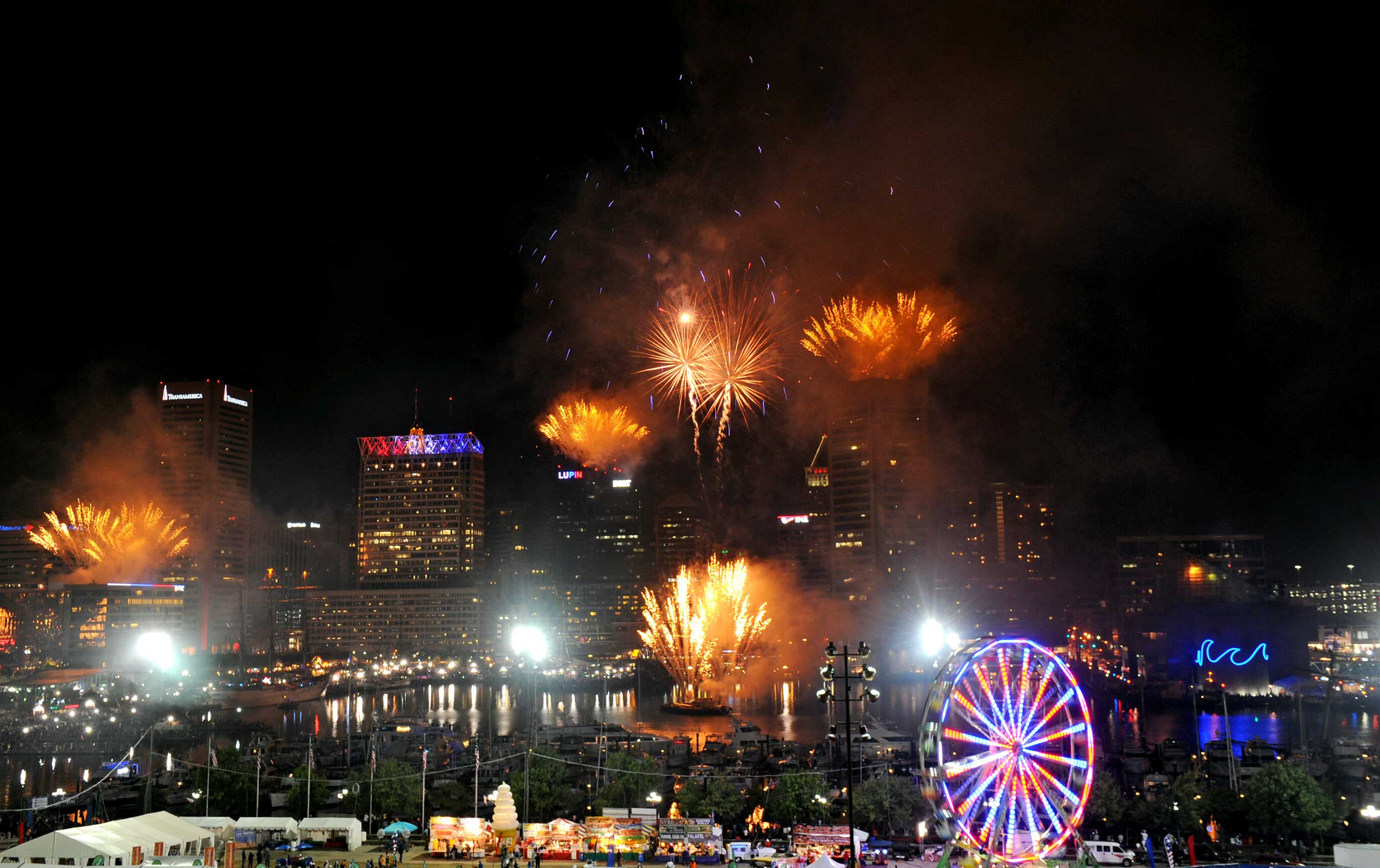 "Fireworks light the night sky over Baltimore's Inner Harbor Sept. 13, symbolizing the ""bombs bursting in air"" that inspired Francis Scott Key 200 years ago to pen the words that would become the National Anthem."
