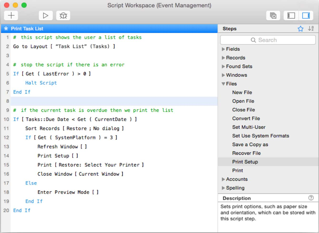 New! FileMaker 14 Script Workspace