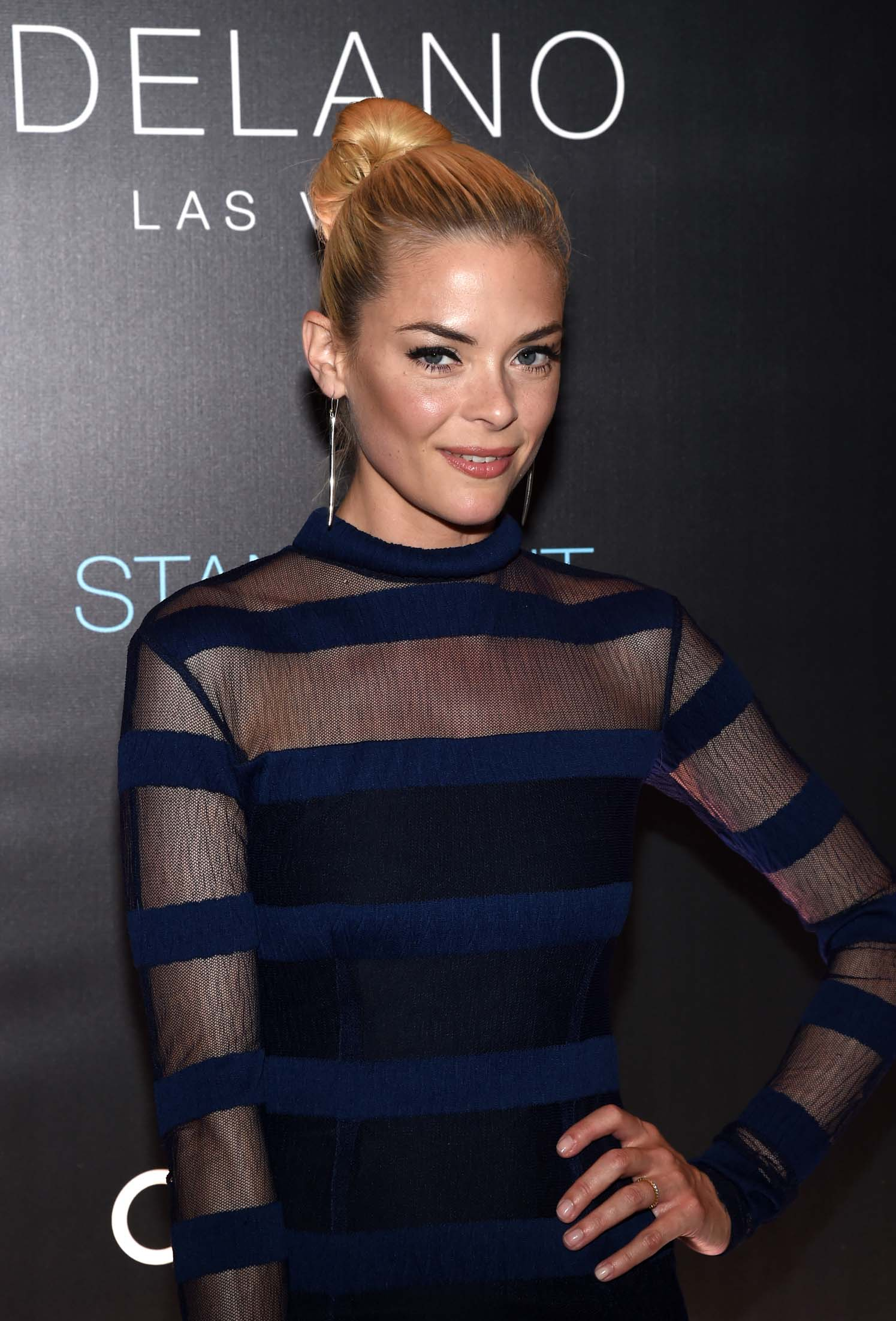 Actress and event host Jaime King arrives on the red carpet at Delano Las Vegas' grand opening party.