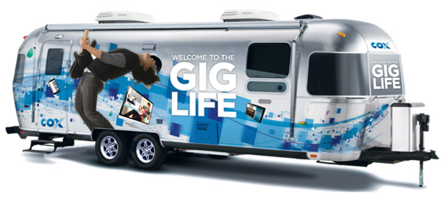 "Cox is using ""Gig Rigs"" at community events to demonstrate the new G1GABLAST Internet service and the ""Gig Life"" it brings"