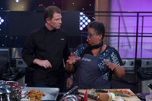 Mentor Bobby Flay with Contestant Sherri Williams on Food Network's All-Star Academy
